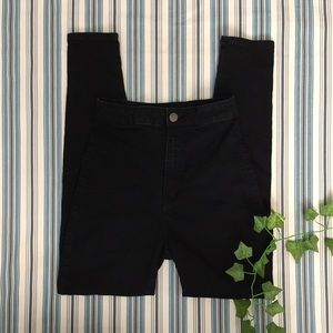 Super High Waisted Black Skinny Jeans